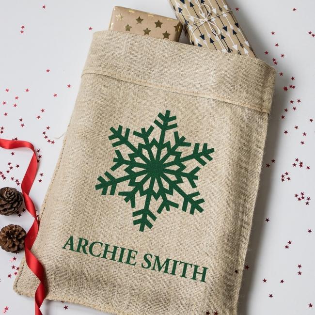 Personalised Christmas Snowflake Hessian Sack