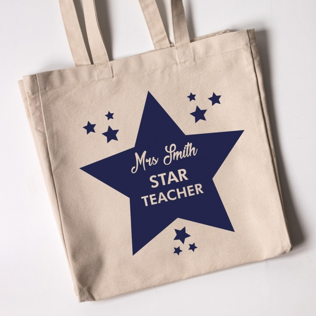 Teacher Tote Bag - Star Teacher (Natural)