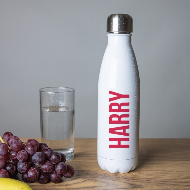Personalised Stainless Steel Insulated Water Bottle - White