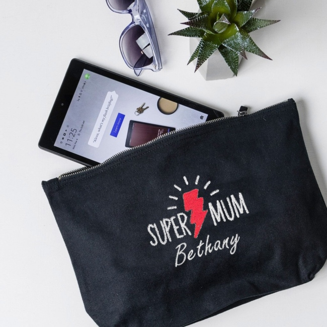 """Personalised Embroidered """"Super Mum"""" Accessory Pouch"""