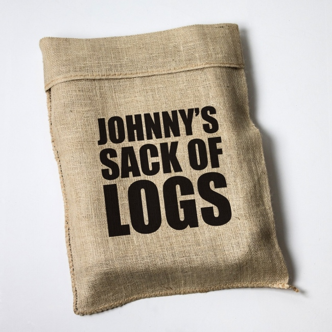 Personalised Large Print Hessian Log Sack