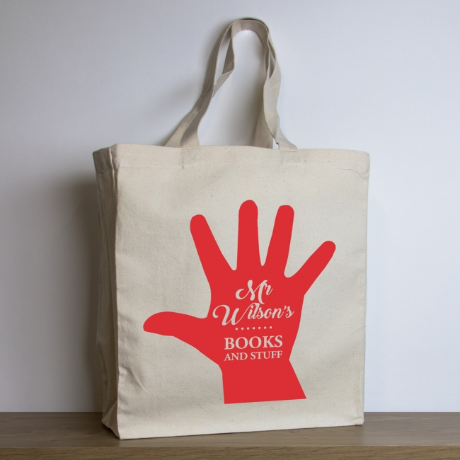 Personalised Teacher Tote Bag – Red Hand Print