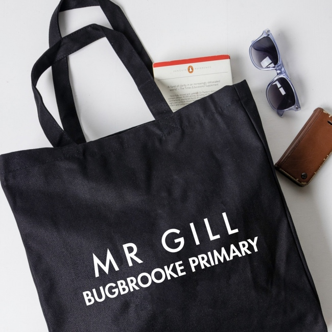 Personalised Teacher Gift Tote Bag - Sans Serif