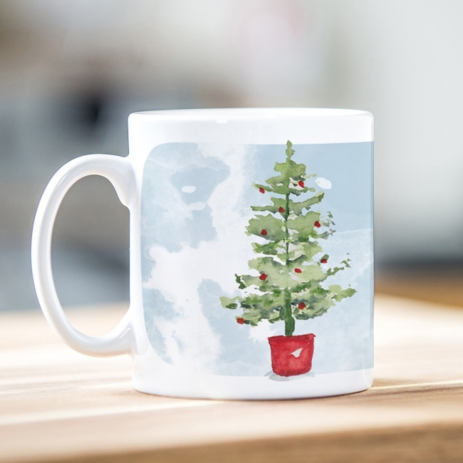 Watercolour Tree Christmas Mug