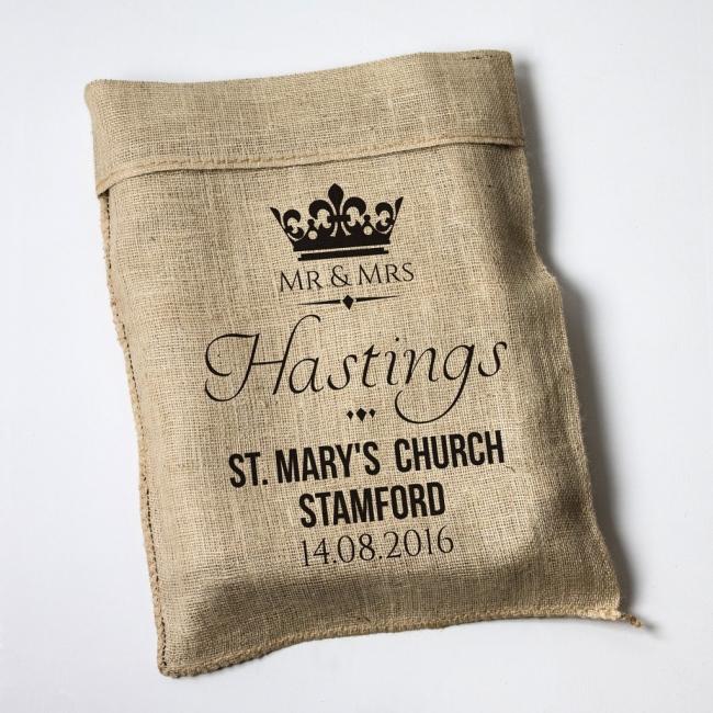 Personalised Wedding Crown Hessian Sack