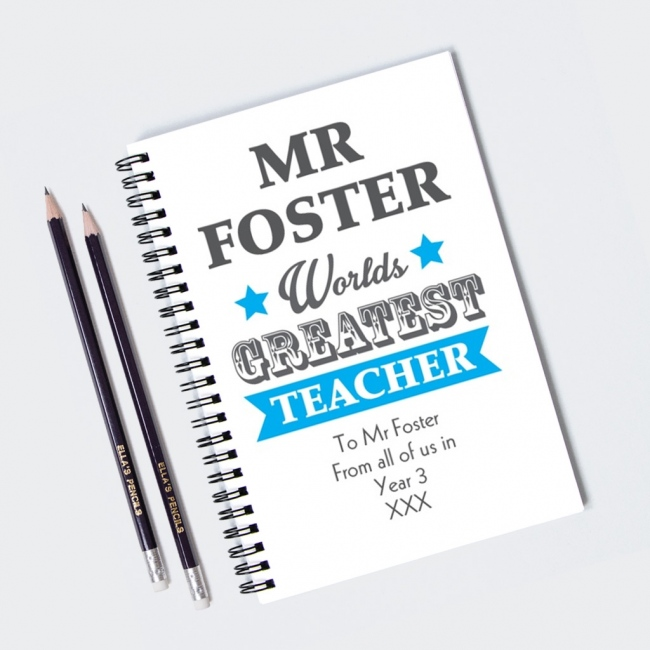 Worlds Greatest Teacher Blue Notebook & 12 Graphite Pencils