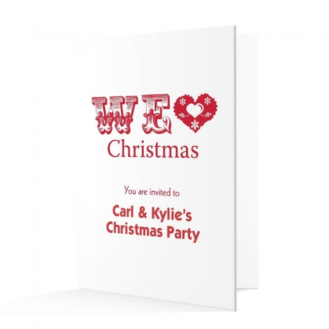 Christmas Invitation Card - Red Writing and Heart Christmas