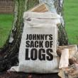 Personalised Large Print Hessian Log Sack
