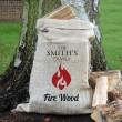 Personalised Flame Motif Hessian Log Sack