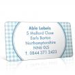 Pre Designed Blue Gingham Address Label on A4 Sheets