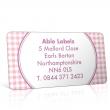Pre Designed Pink Gingham Address Label on A4 Sheets
