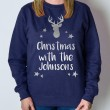 Personalised Christmas Jumper - Reindeer (Navy)
